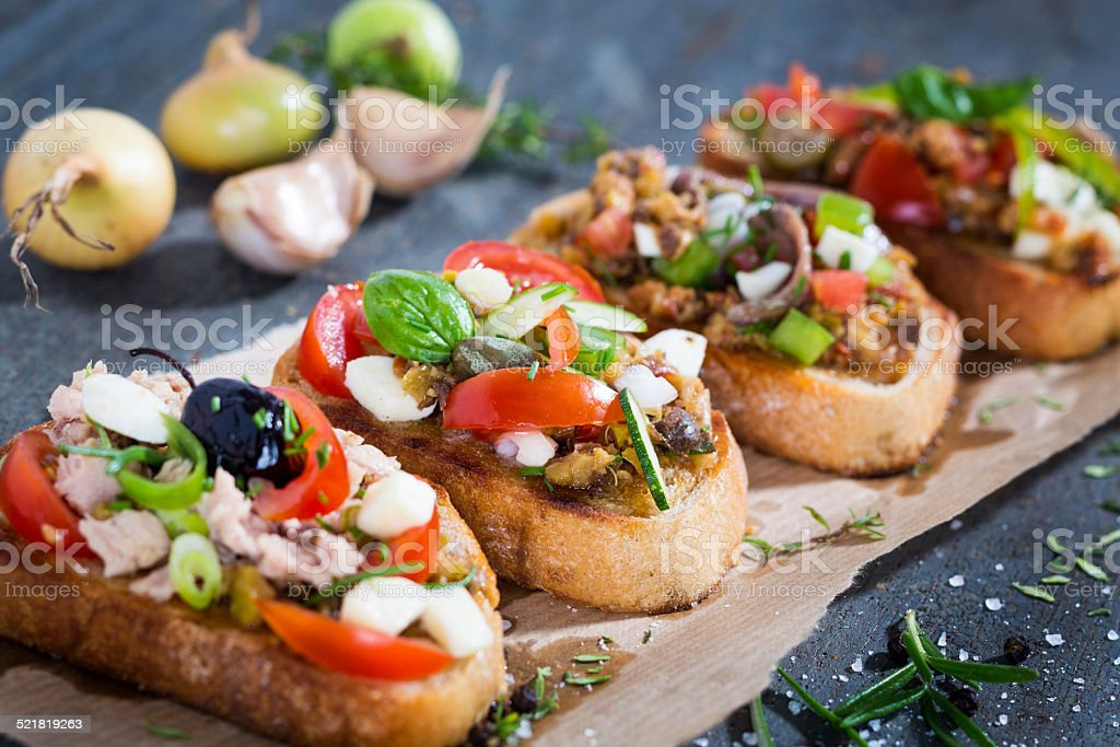 Bruschette, traditional italian appetizer food stock photo