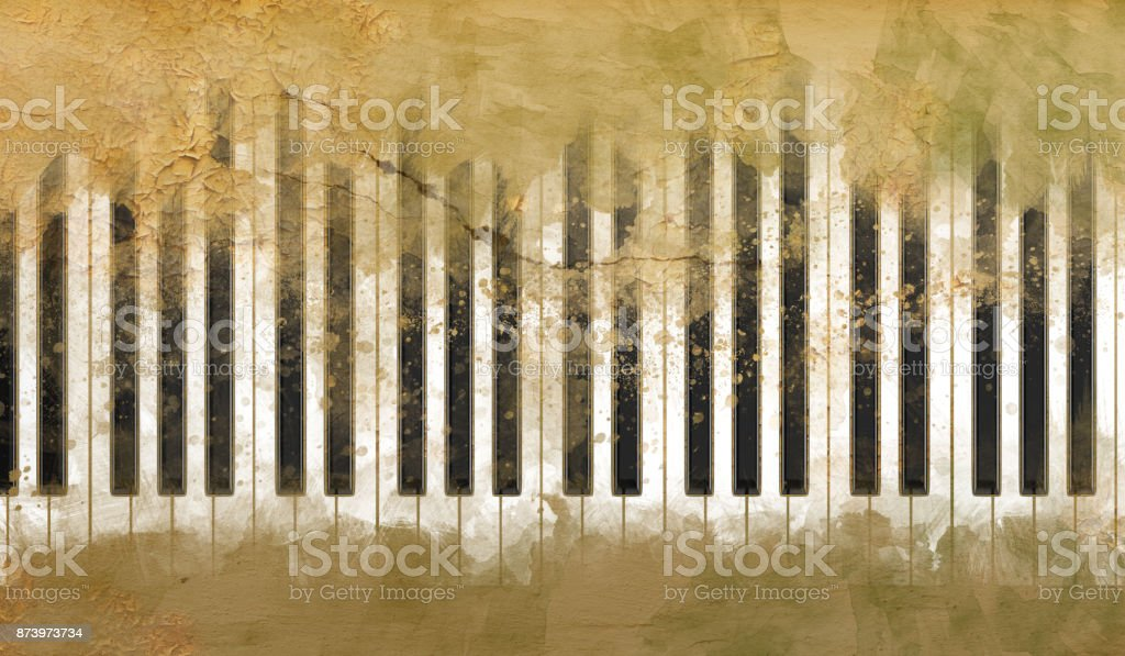 Abstract Art Mixed Media Grunge Stock Photo: Brush Abstract Piano Keys On The Grunge Background Stock