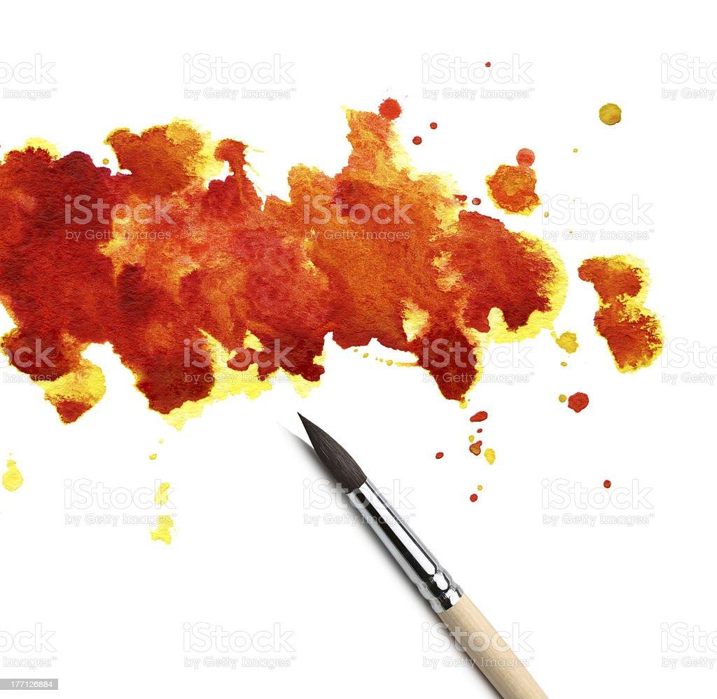 brush and abstract watercolor blot royalty-free stock photo
