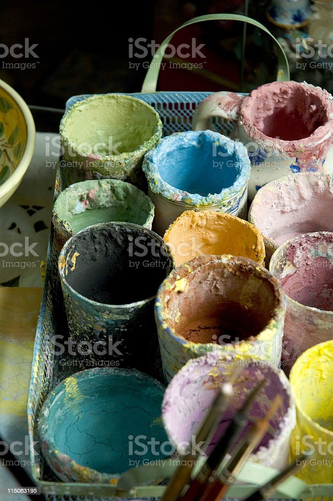 Brush and colors royalty-free stock photo