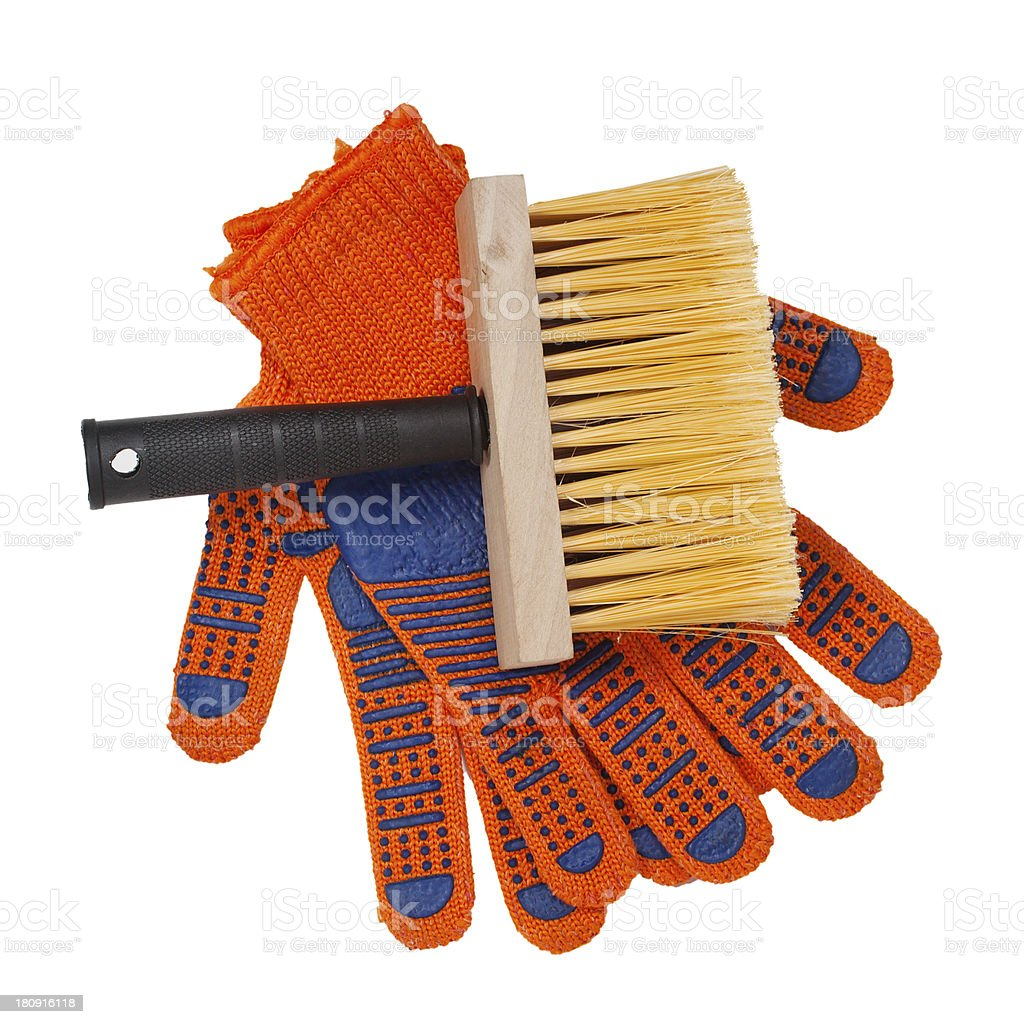 brush and gloves royalty-free stock photo