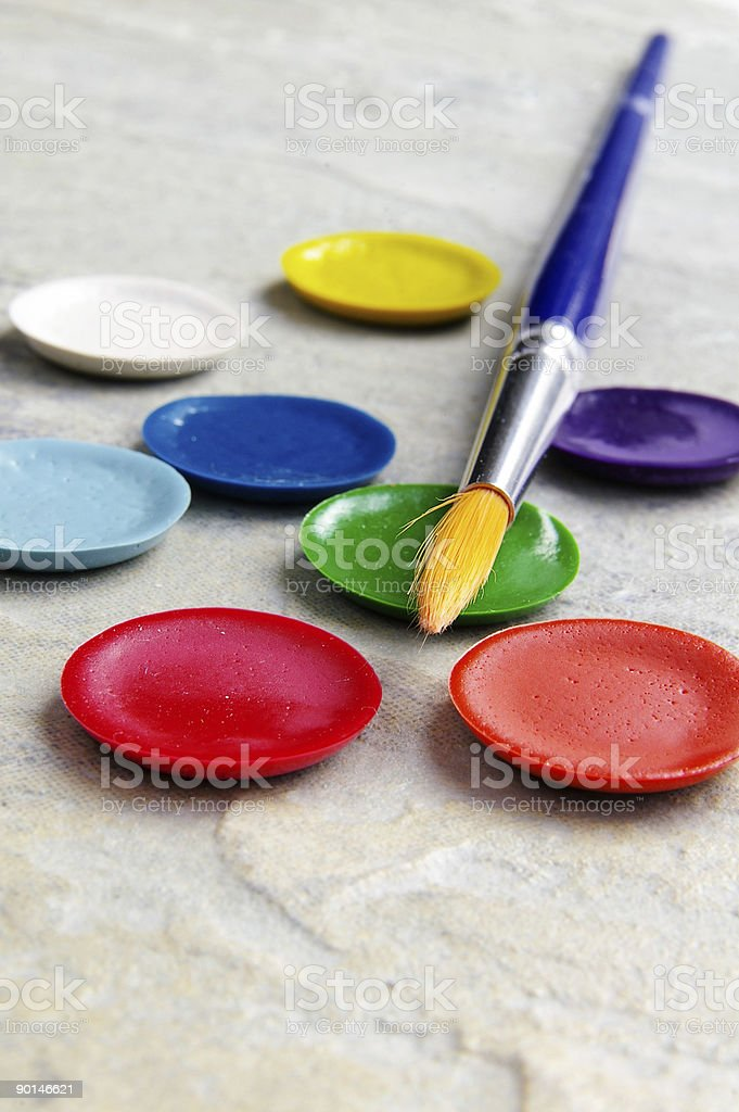Brush and paint royalty-free stock photo