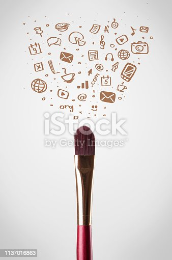 istock Brush close-up with social media icons 1137016863