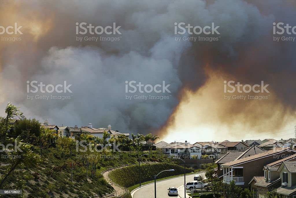 Brush Fire Near Homes royalty-free stock photo