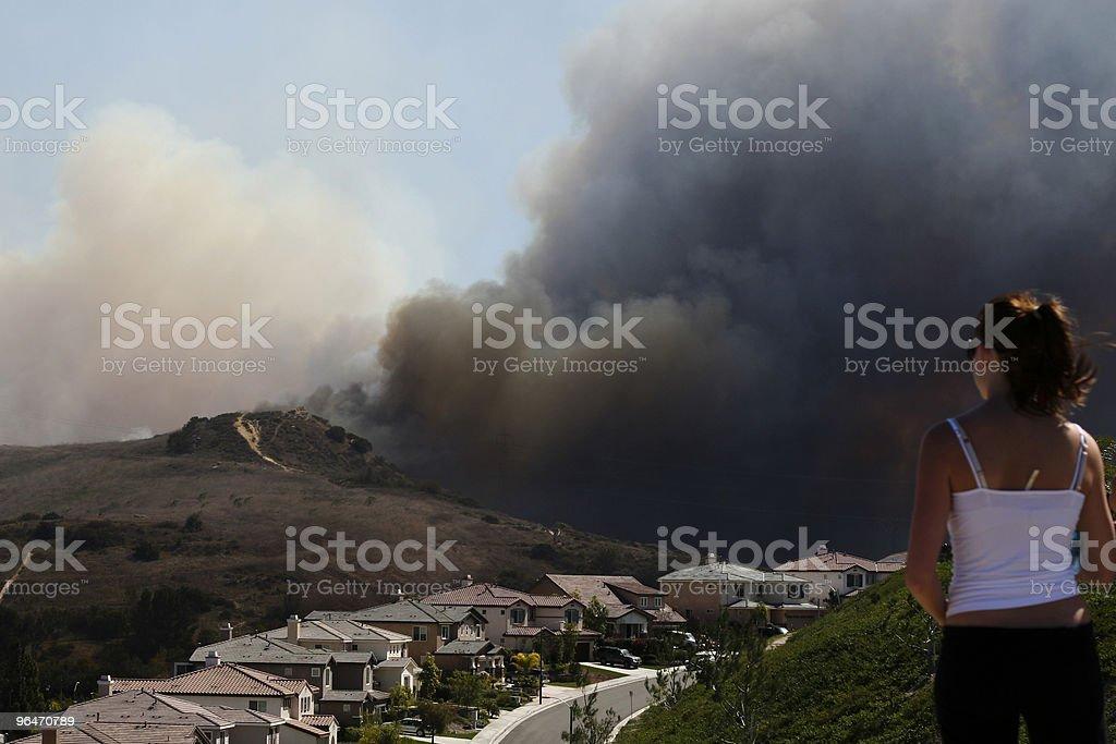 Brush Fire Threatening Homes royalty-free stock photo