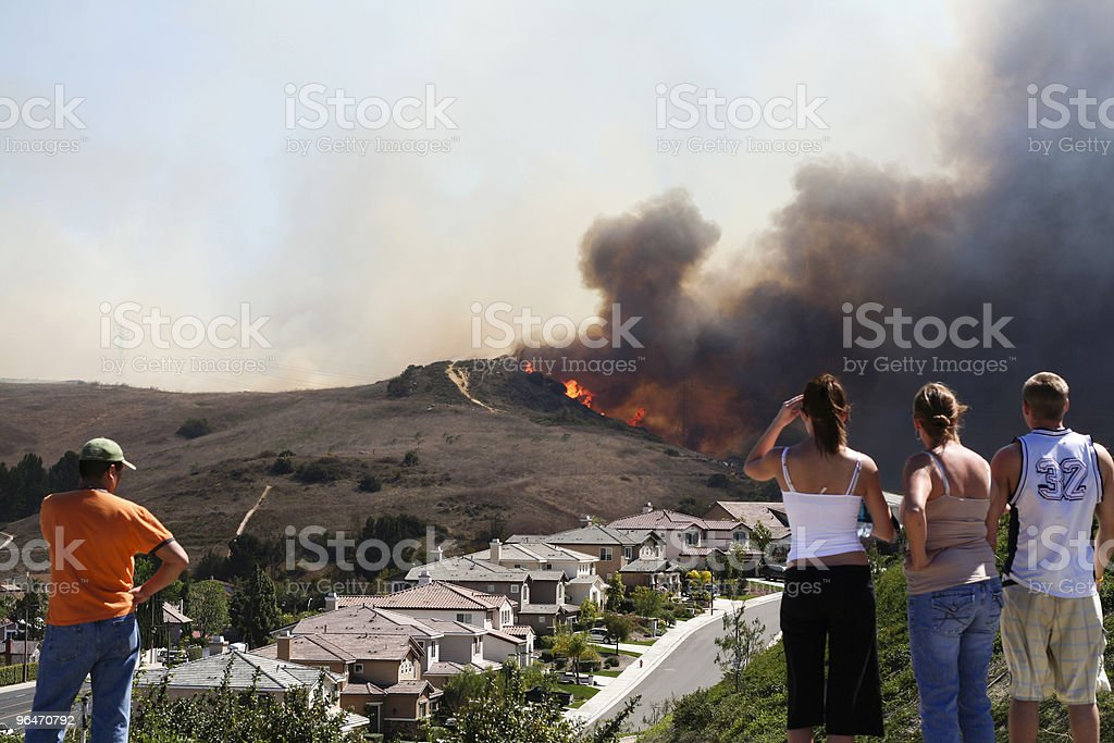 Brush Fire Threatening Homes stock photo