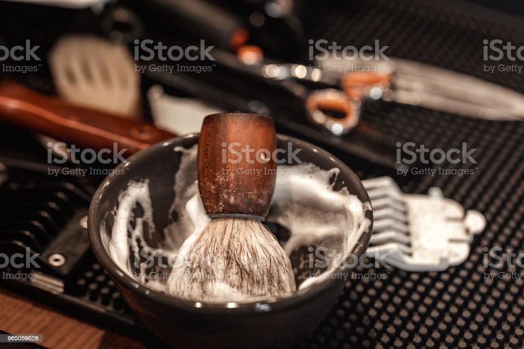 brush for shaving beard and bowl. royalty-free stock photo