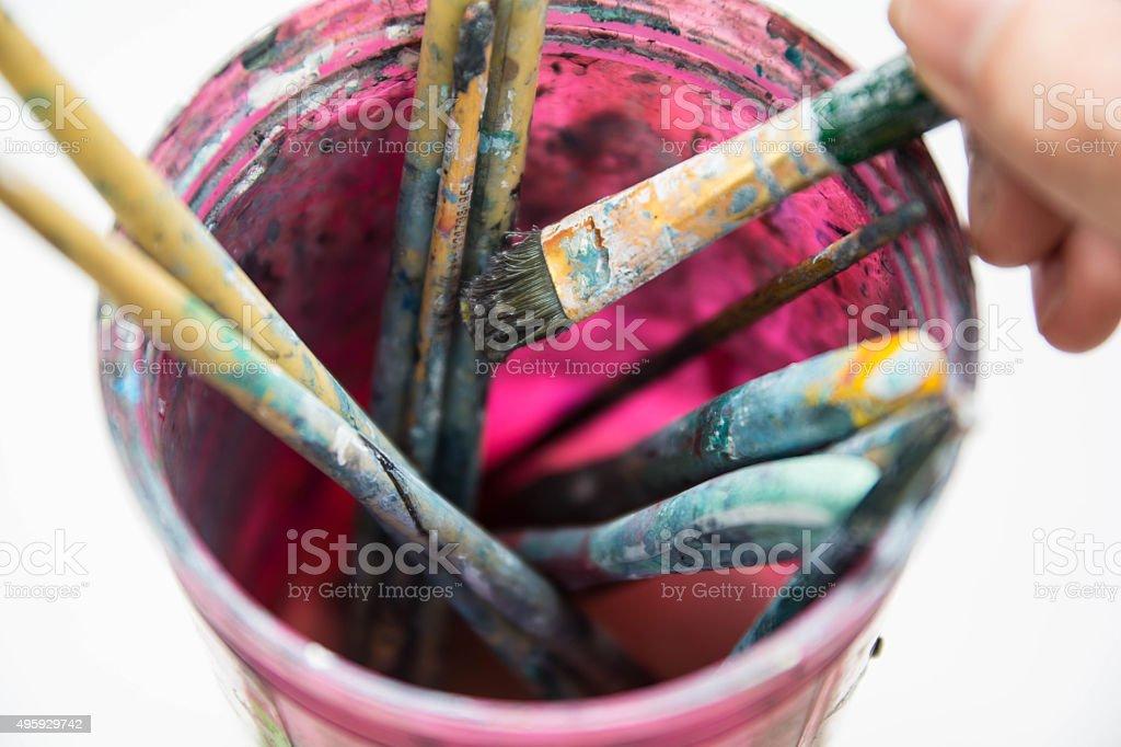 Brush in color bottle stock photo