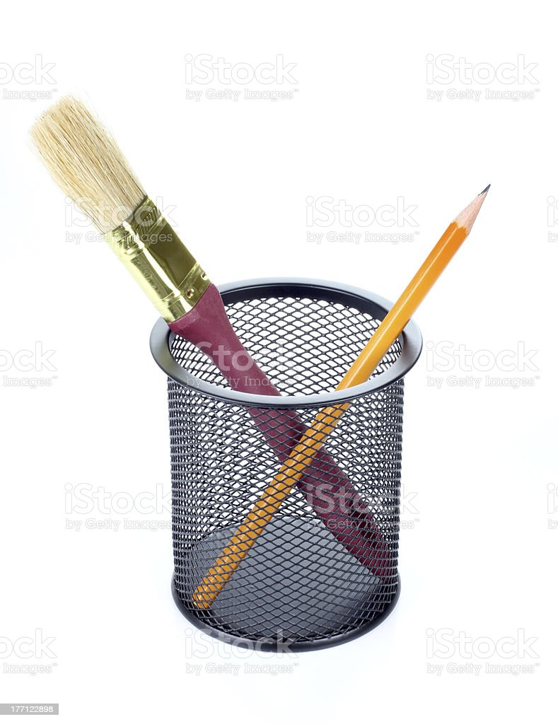Brush in metal cup royalty-free stock photo