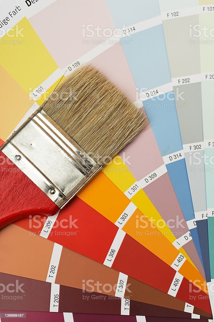 Brush on colorcharts royalty-free stock photo