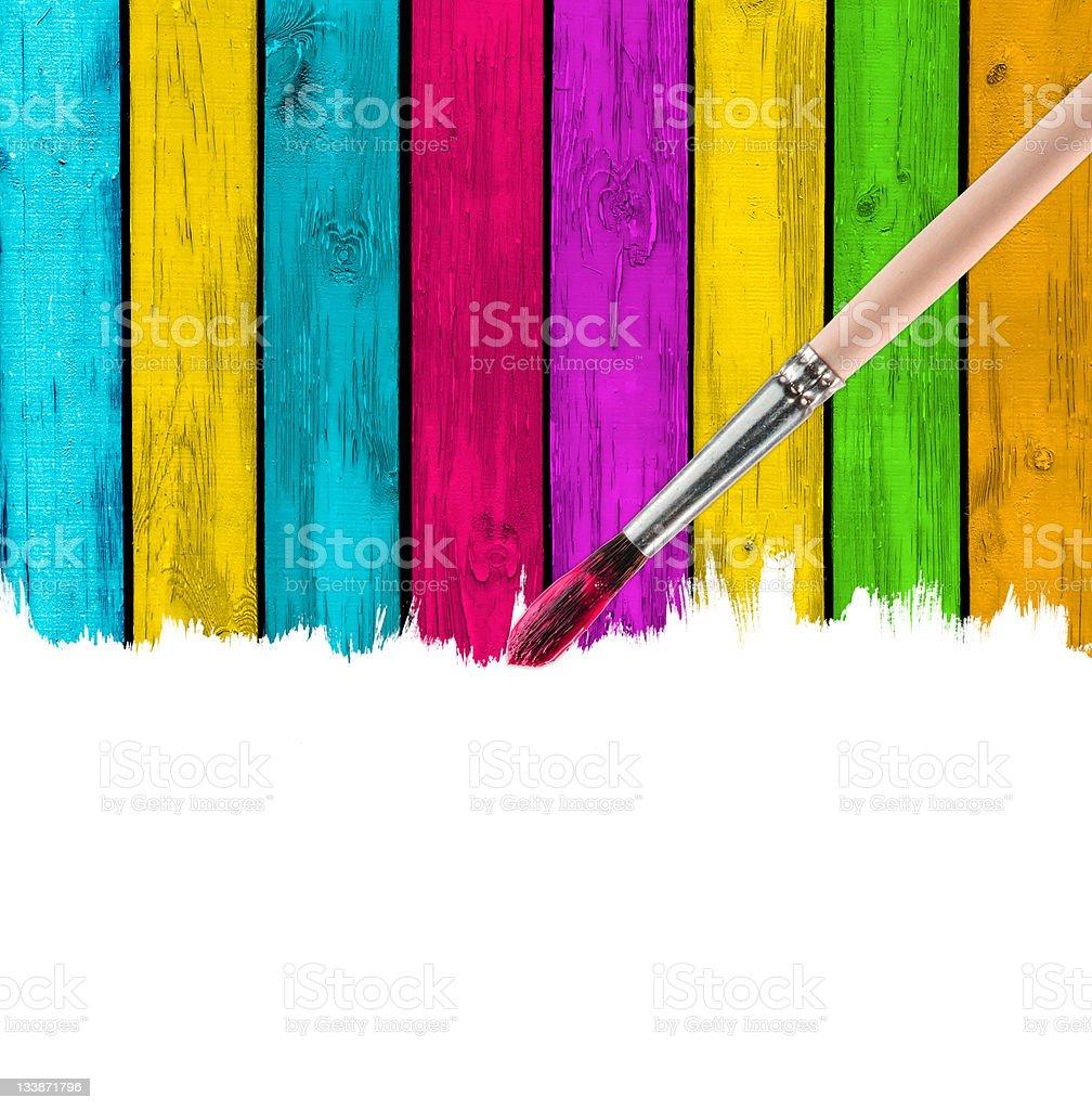 Brush Paining Multicolored Wood Background royalty-free stock photo