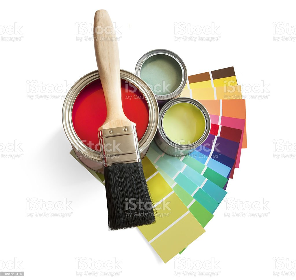 Brush, paint and swatches on white background stock photo