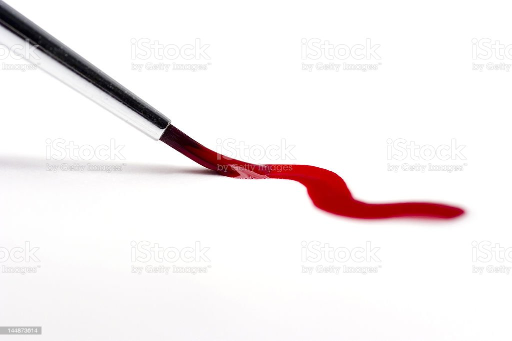 Brush painting red curve isolated on white royalty-free stock photo