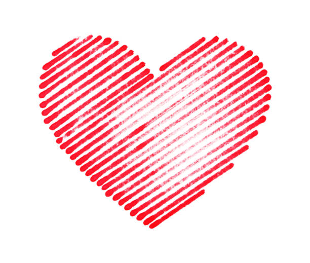 brush stroke heart pattern isolated on white background - pencil drawing stock pictures, royalty-free photos & images