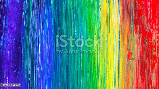 istock Brush stroke in rainbow colors colorful background. Symbol of childhood or equality. Square format. 1250694375