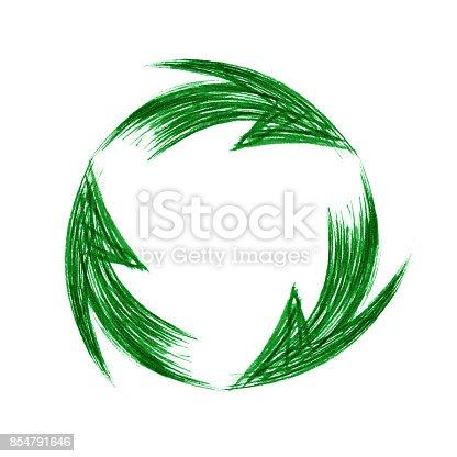 istock Brush stroke recycle icon isolated on white background 854791646