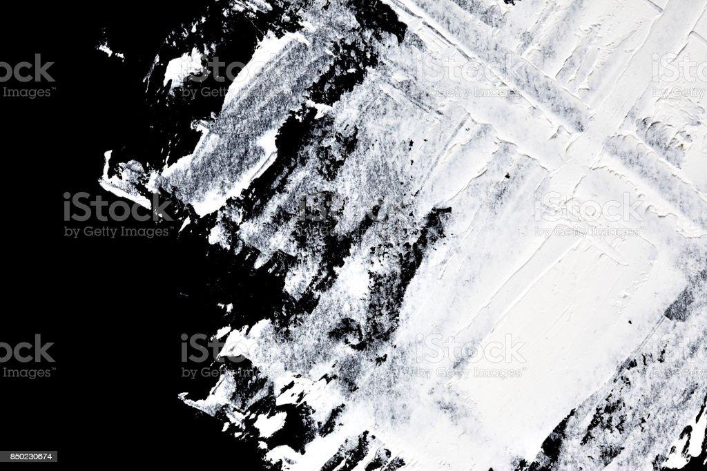 Brush strokes of white oil paint stock photo
