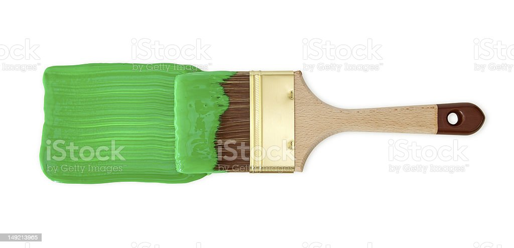 Brush with green paint royalty-free stock photo
