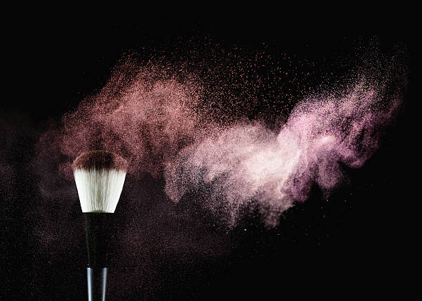 brush with powder - make up stock photos and pictures