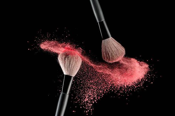 Brush with powder stock photo