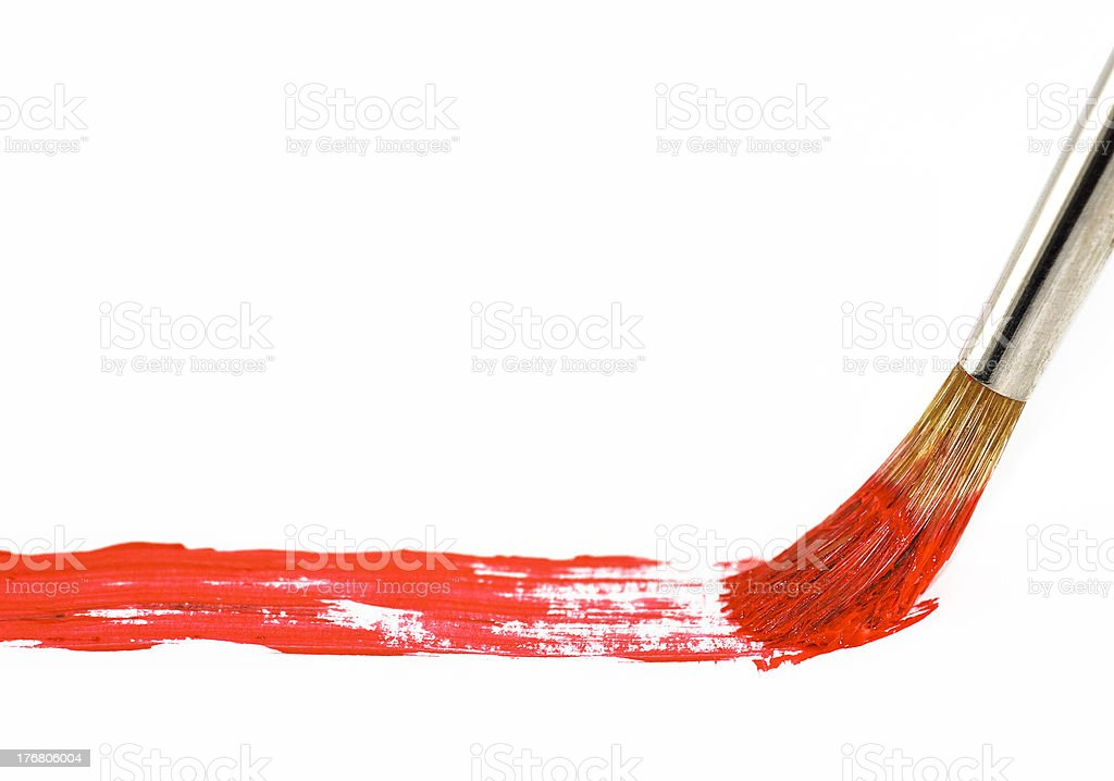 Brush with red paint royalty-free stock photo