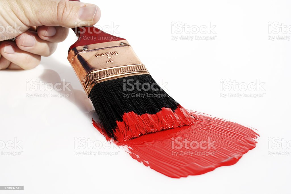 brush with wet red paint stock photo