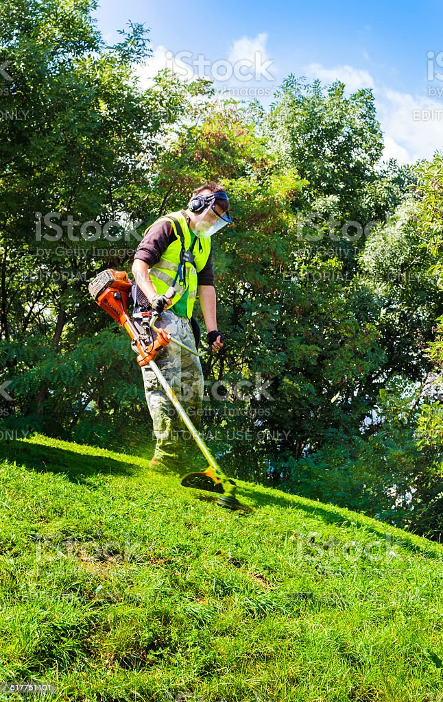 Brushcutter stock photo