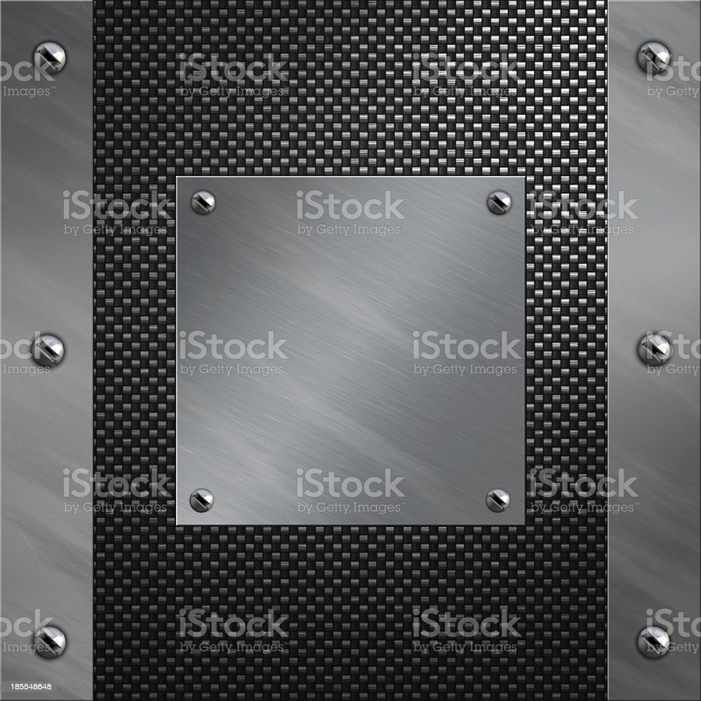 Brushed aluminum frame bolted to a carbon fiber background royalty-free stock photo