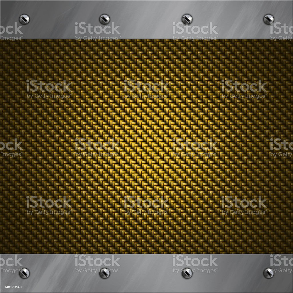 Brushed aluminum frame bolted to a golden carbon fiber background stock photo