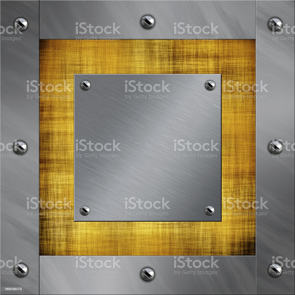 Brushed aluminum frame bolted to a old parchment background stock photo