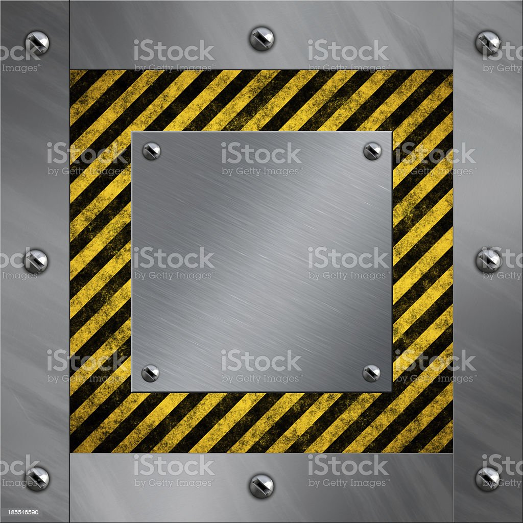 Brushed aluminum frame bolted to a warning stripe background stock photo