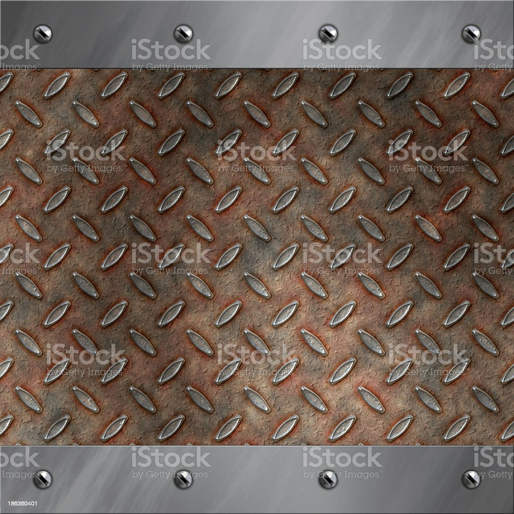 Brushed aluminum frame bolted to rusted diamond metal stock photo
