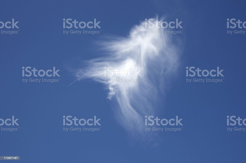 Brushed cloud and passenger jet emerging royalty-free stock photo