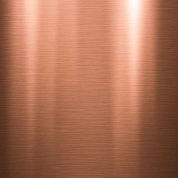 brushed copper metallic plate - copper stock photos and pictures