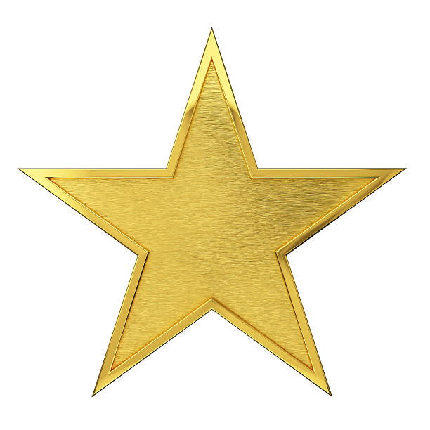 brushed golden star award - star shape stock photos and pictures