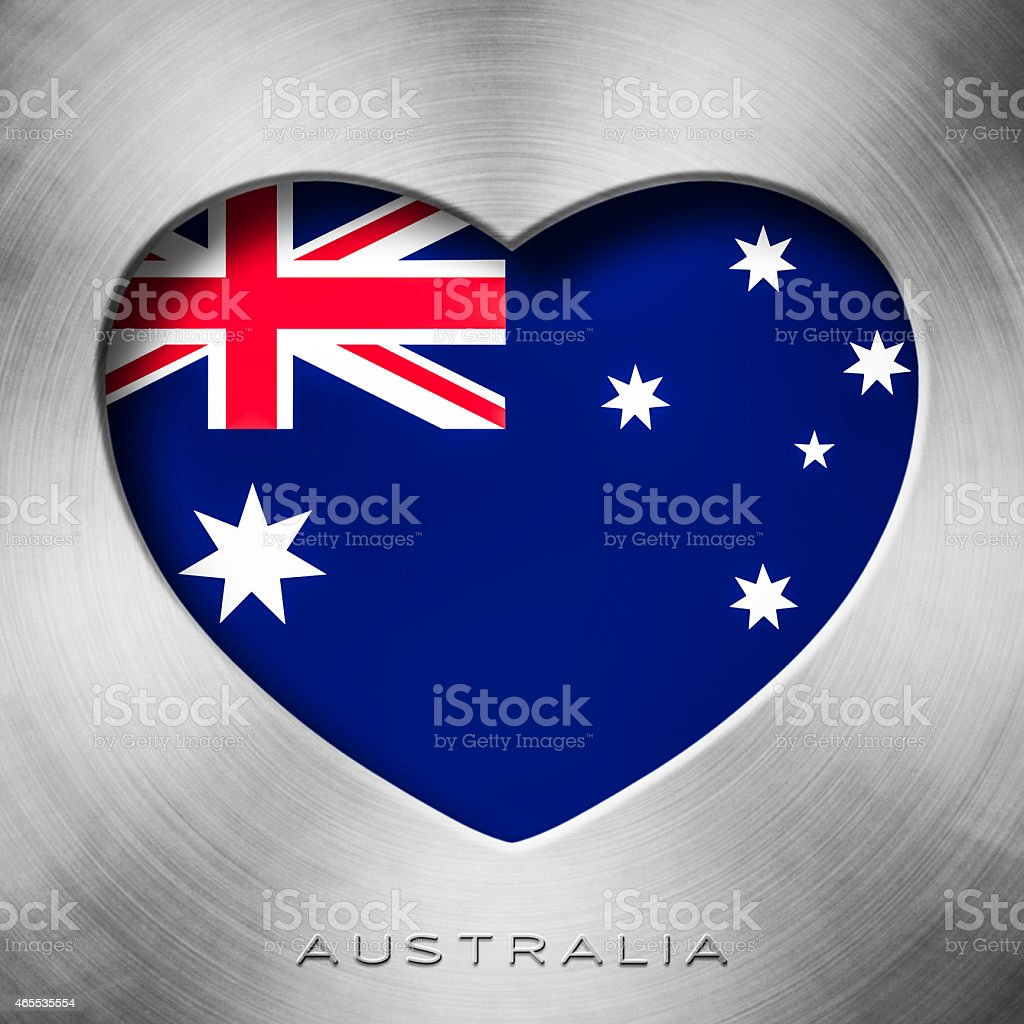 Brushed metal - Australian Flag Heart, Australia stock photo