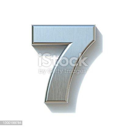Brushed metal font Number 7 SEVEN 3D render illustration isolated on white background
