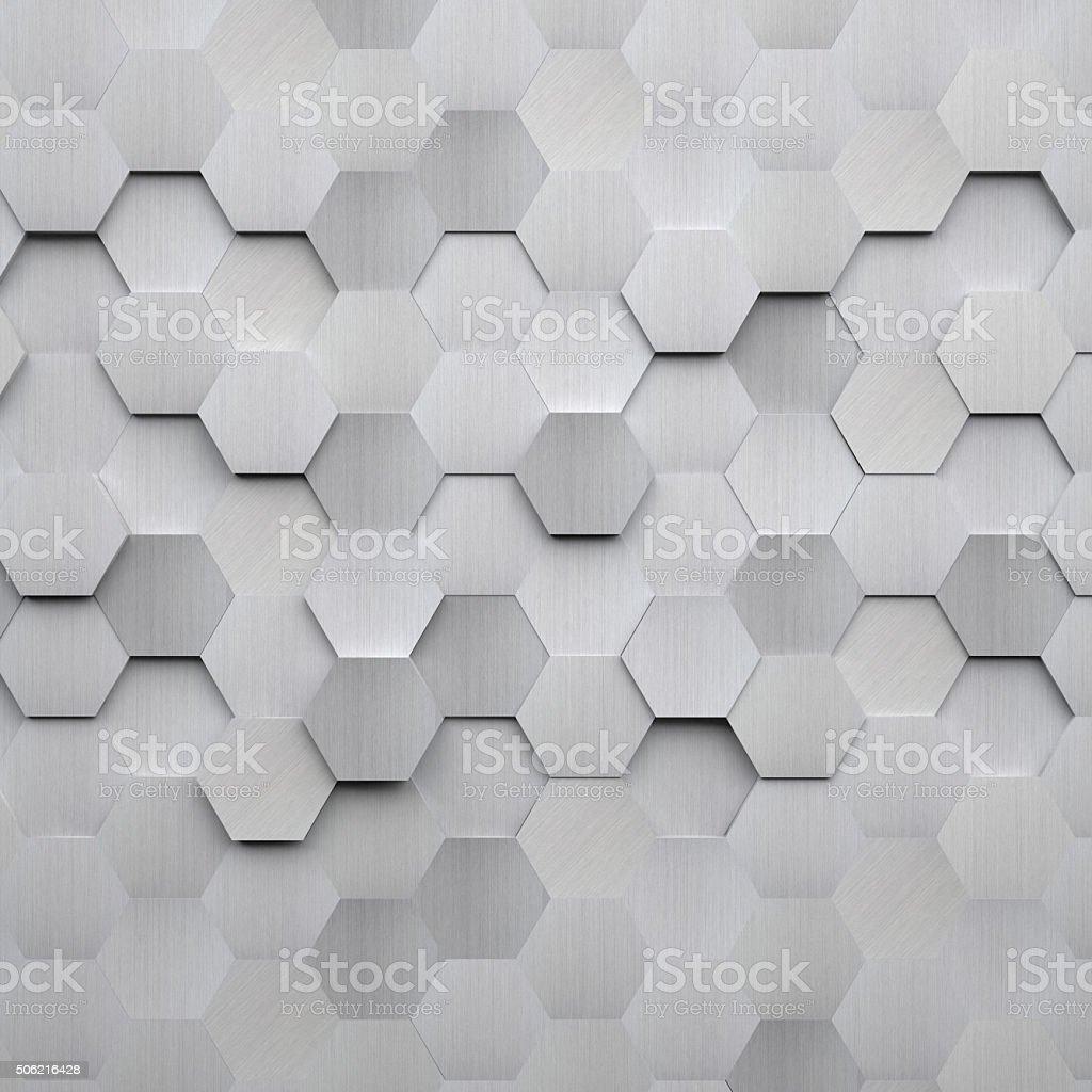 Brushed Metal Hexagon Background stok fotoğrafı