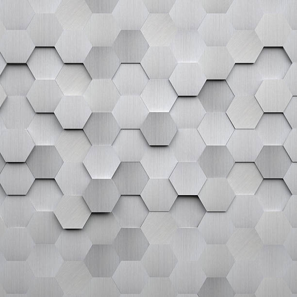 brushed metal hexagon background - aluminium stock photos and pictures