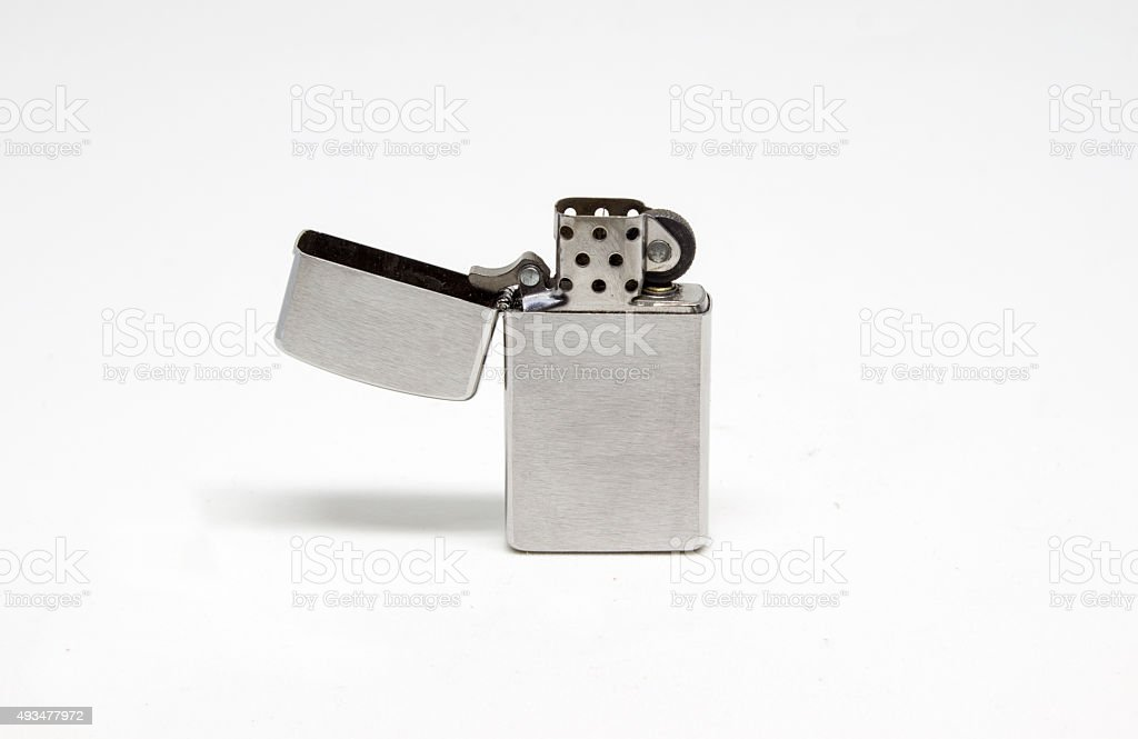 Brushed Metal Lighter Isolated stock photo