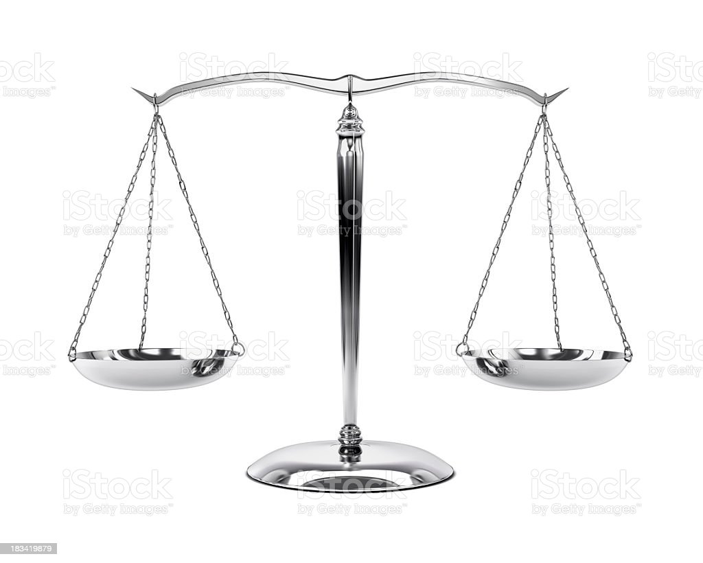 A brushed steel pair of scales on a white background stock photo