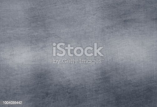Brushed steel plate background texture horizontal, old metal full of scratches