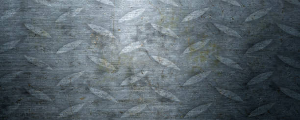 Brushed steel plate background texture horizontal stock photo