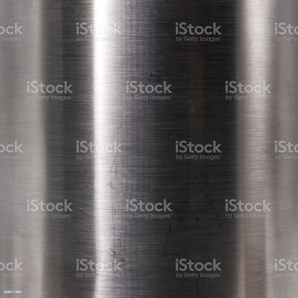 Brushed steel plate texture. Hard metal material background. Reflection surface. stock photo