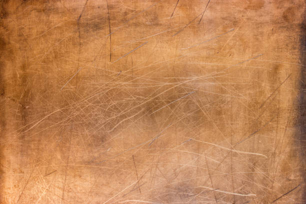 Brushed surface of brass, old plate of copper texture stock photo