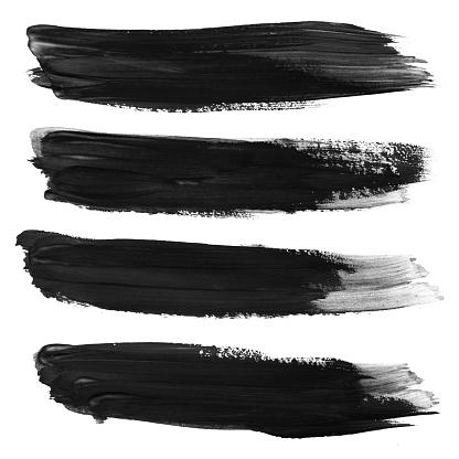 Set of black stroke brushes isolated on white