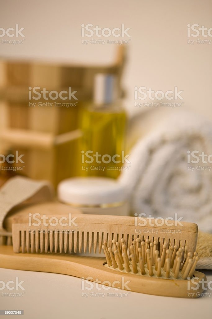 Brushes and bathroom products royalty-free stock photo