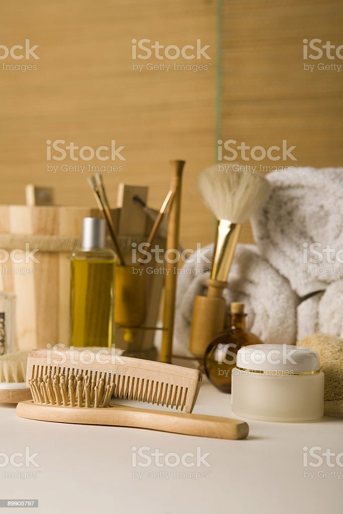 Brushes and beauty products royalty-free stock photo