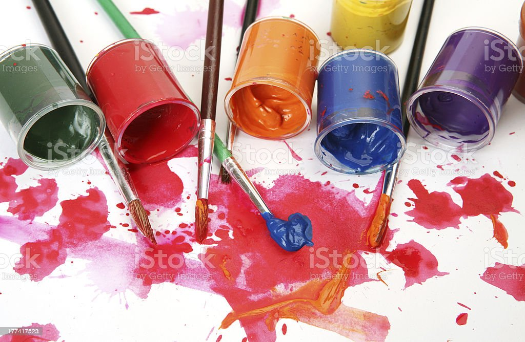 Brushes and paints royalty-free stock photo