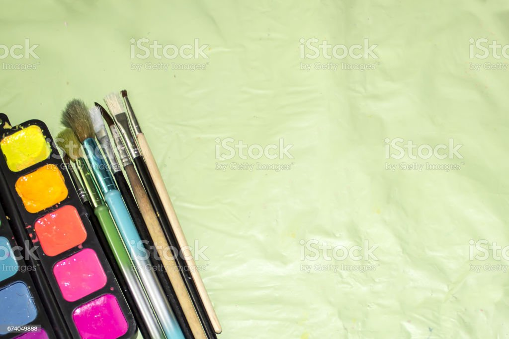 Brushes and watercolors royalty-free stock photo